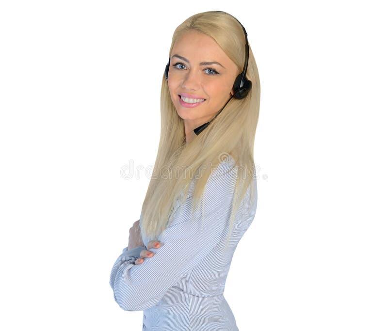 Femme d'affaires avec des écouteurs image stock