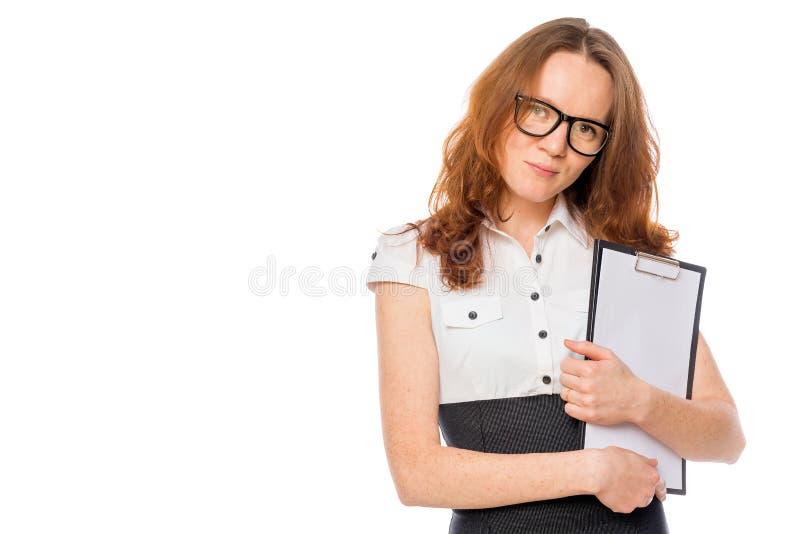 Femme d'affaires avec des dossiers et espace pour l'inscription photographie stock libre de droits