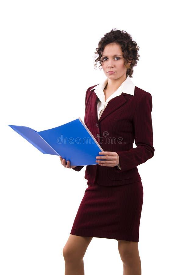 Femme d'affaires avec des fichiers. photo stock