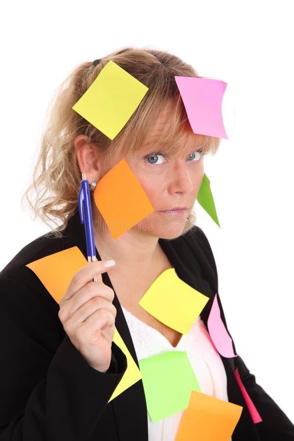 Femme d'affaires avec des notes images libres de droits