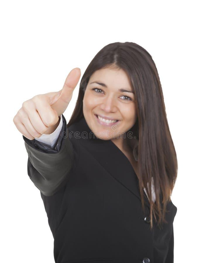 Femme d'affaires avec des pouces vers le haut images libres de droits