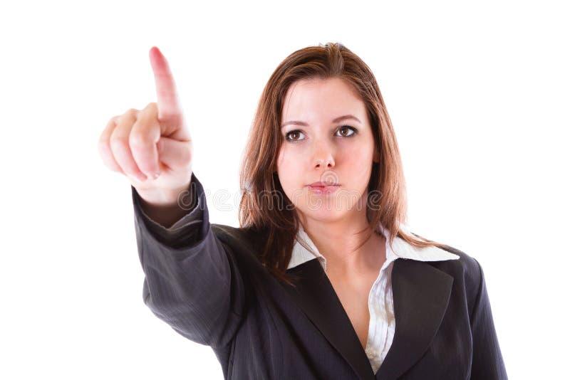 Femme d'affaires avec diriger le doigt images libres de droits