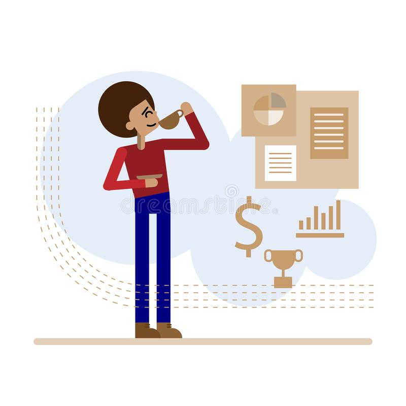 Femme d'affaires avec du café illustration libre de droits