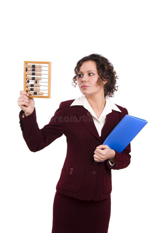 Femme d'affaires avec l'abaque en bois. photographie stock libre de droits