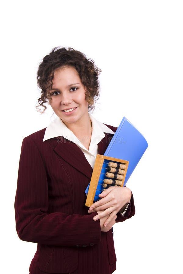 Femme d'affaires avec l'abaque en bois. image stock