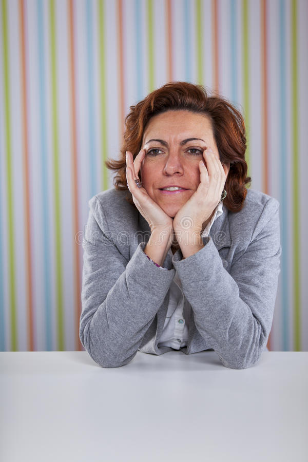 Femme d'affaires avec l'effort photos stock