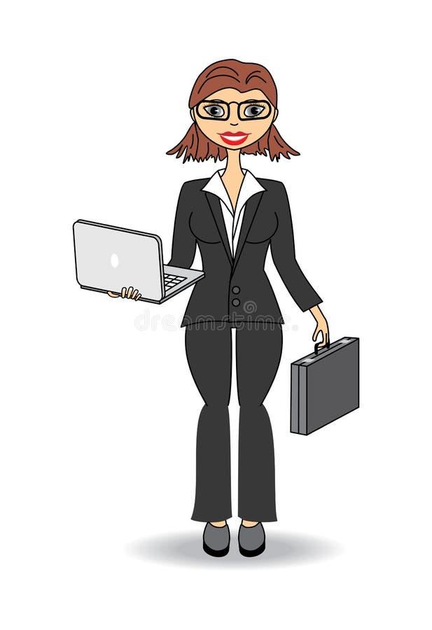 Femme d'affaires avec l'ordinateur portable illustration stock