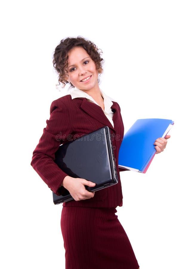 Femme d'affaires avec l'ordinateur portatif photos stock