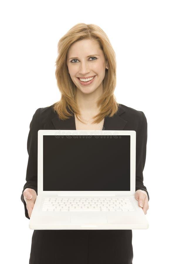 Femme d'affaires avec l'ordinateur portatif photos libres de droits