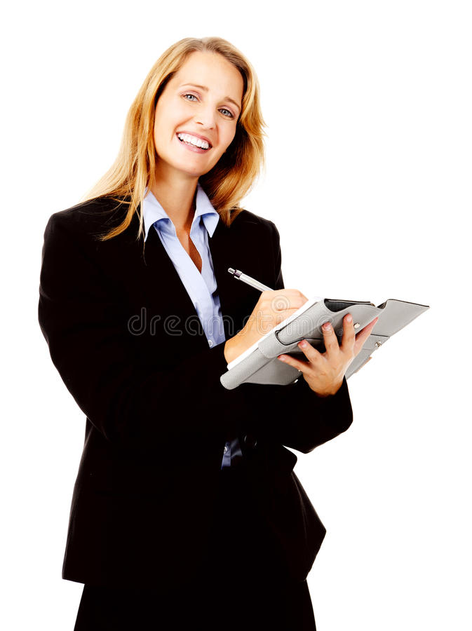 Femme d'affaires avec l'organisateur photo stock
