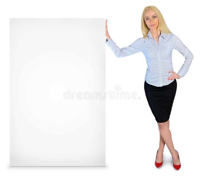 Femme d'affaires avec la bannière vide photo stock