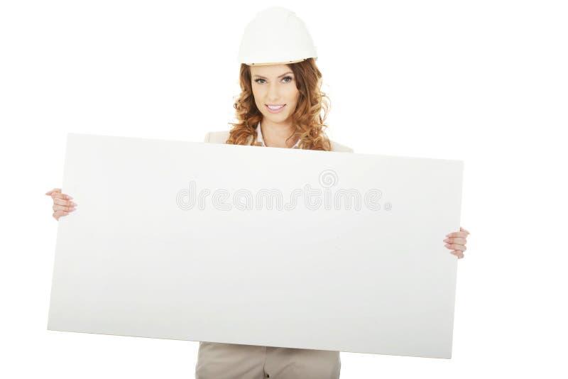 Femme d'affaires avec la bannière vide images libres de droits