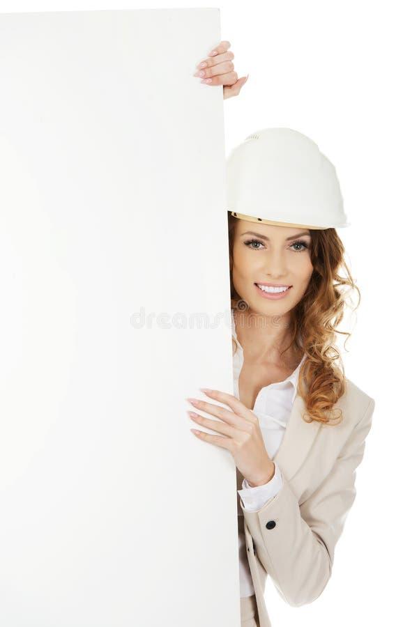 Femme d'affaires avec la bannière vide images stock