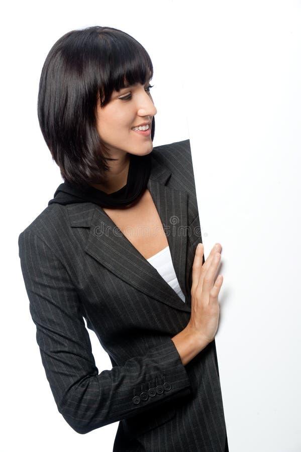 Femme d'affaires avec la carte photo stock