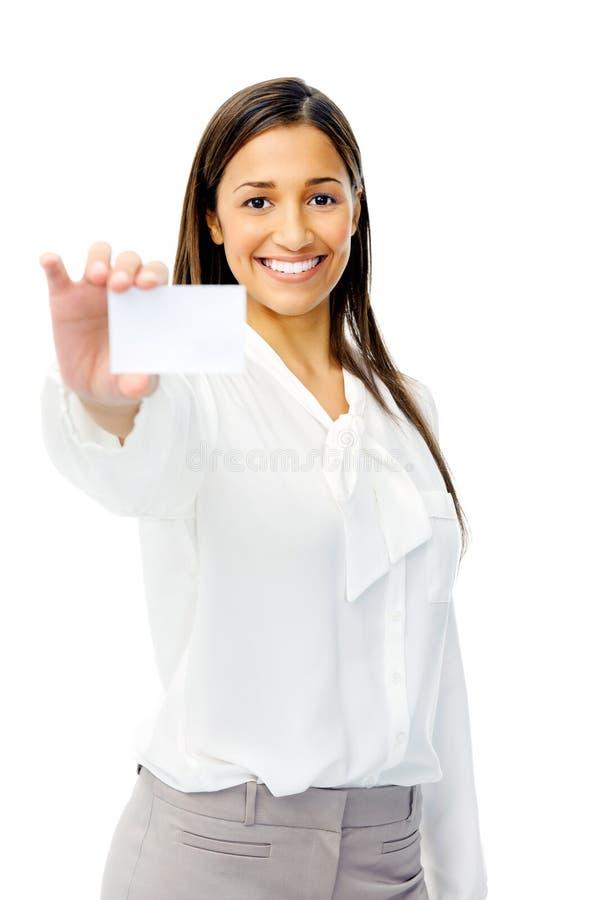 Femme d'affaires avec la carte de visite professionnelle de visite image libre de droits