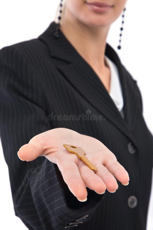 Femme d'affaires avec la clé photo libre de droits