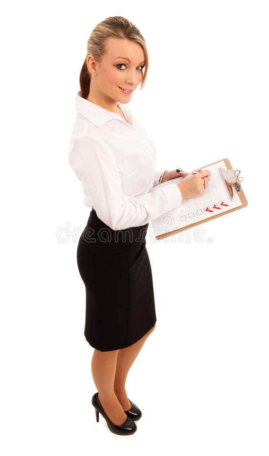 Femme d'affaires avec la liste de contrôle photos libres de droits
