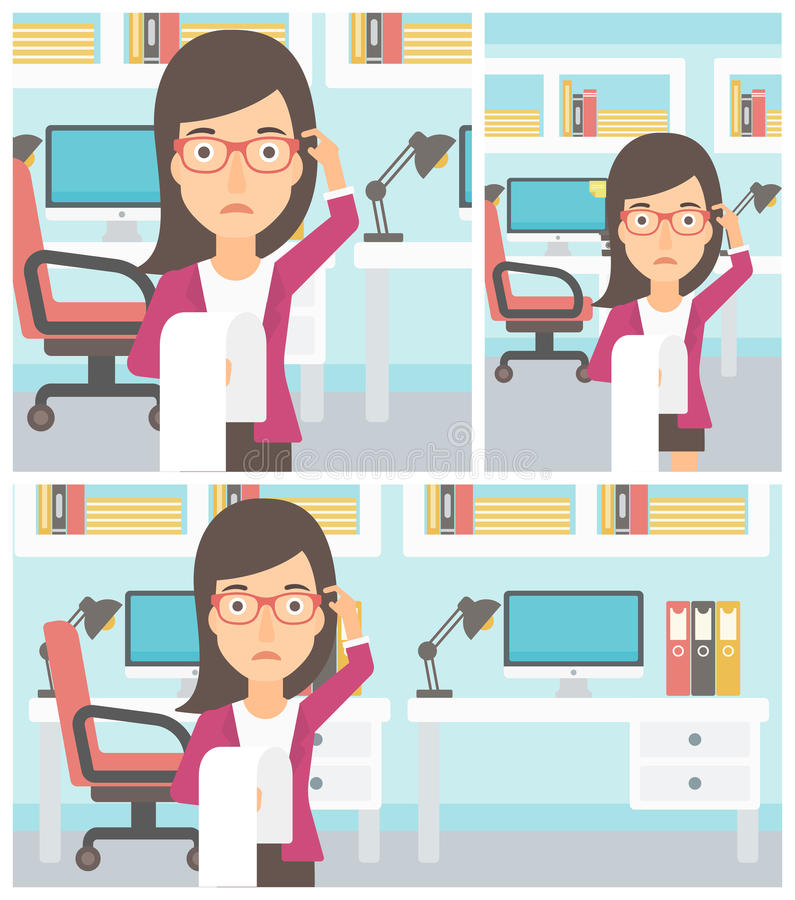 Femme d'affaires avec la longue illustration de vecteur de facture illustration libre de droits