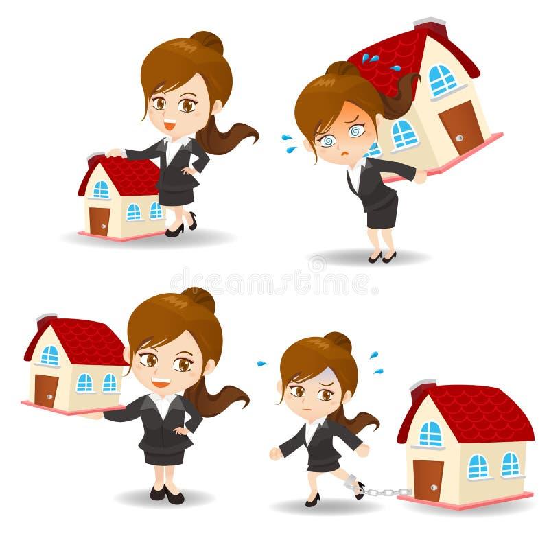Femme d'affaires avec la maison à la maison illustration de vecteur