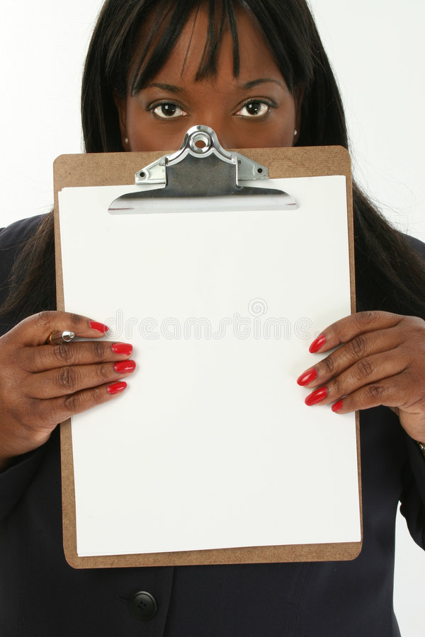 Femme d'affaires avec la planchette photographie stock