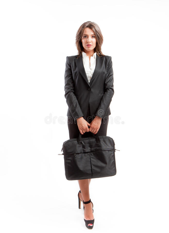 Femme d'affaires avec la serviette photographie stock