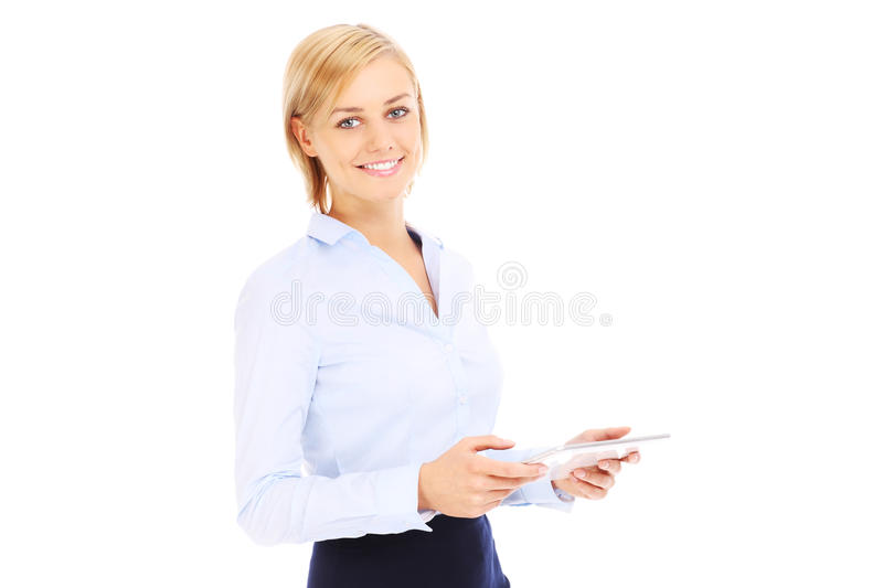 Femme d'affaires avec la tablette photos stock