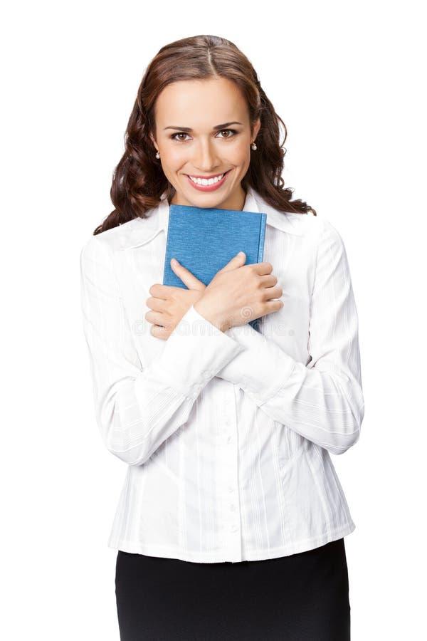 Femme d'affaires avec le bloc-notes, d'isolement photo libre de droits