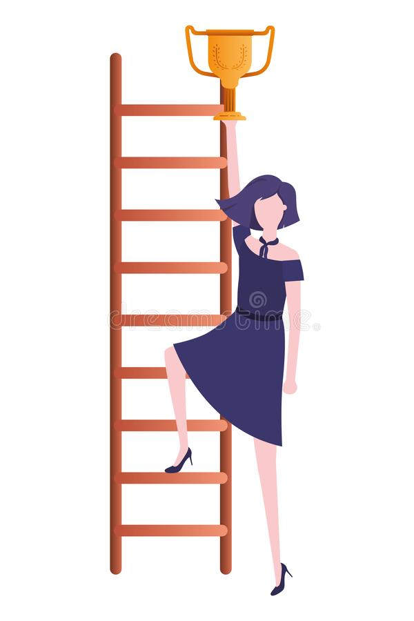Femme d'affaires avec le caract?re d'avatar d'escalier et de troph?e illustration stock