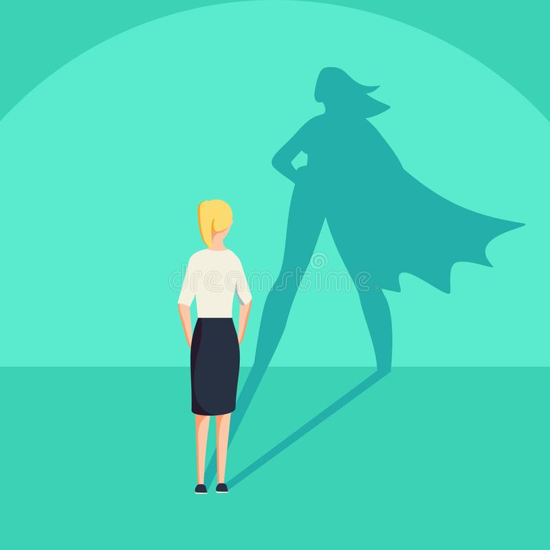 Femme d'affaires avec le concept d'ombre de super héros Symbole d'affaires de l'ambition d'émancipation et de la motivation de su illustration libre de droits