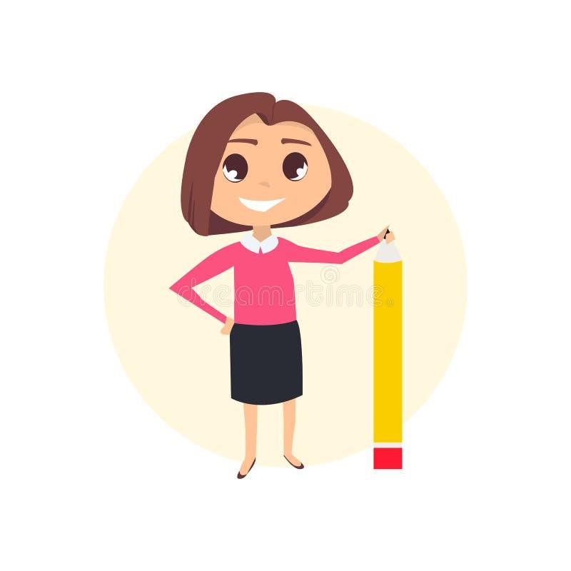 Femme d'affaires avec le crayon illustration libre de droits