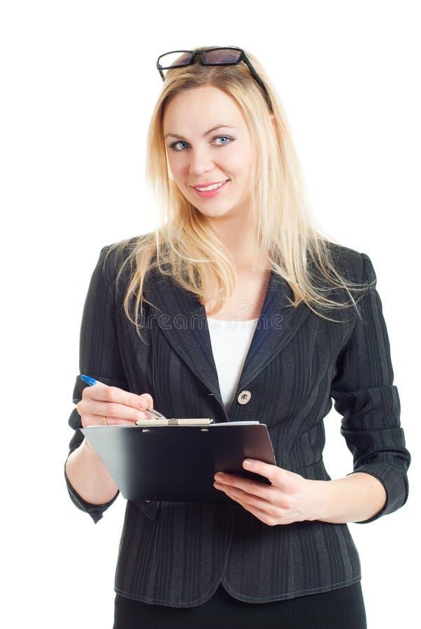 Femme d'affaires avec le dépliant images stock