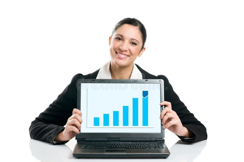Femme d'affaires avec le diagramme croissant photos libres de droits