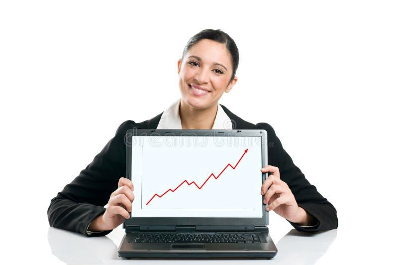Femme d'affaires avec le diagramme croissant image libre de droits