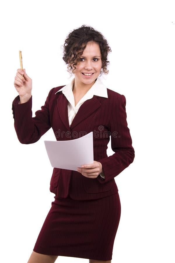 Femme d'affaires avec le document et le crayon lecteur. images libres de droits