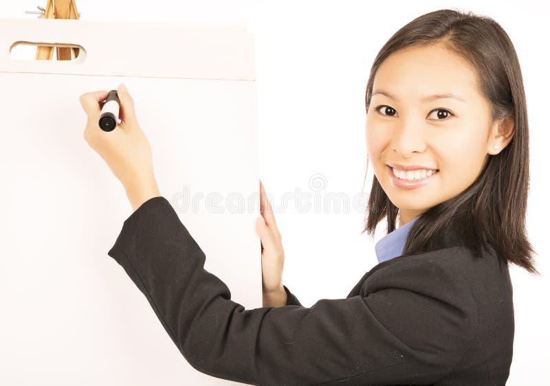 Femme d'affaires avec le flipchart images stock