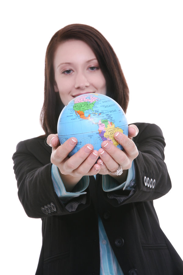 Femme d'affaires avec le globe photos stock