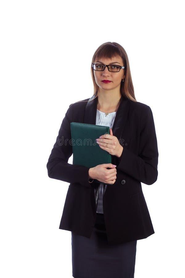 Femme d'affaires avec le journal intime photos stock