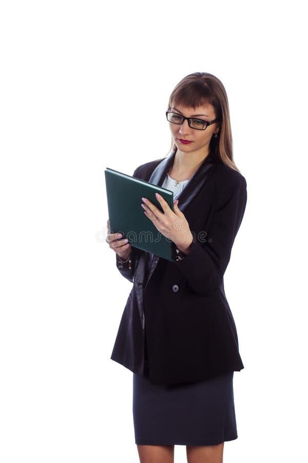 Femme d'affaires avec le journal intime photographie stock libre de droits