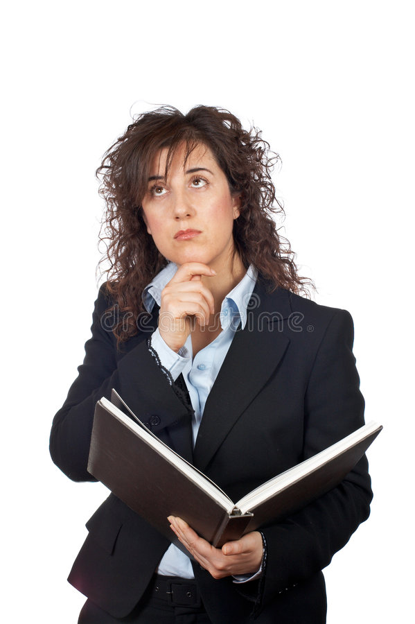 Femme d'affaires avec le livre image stock