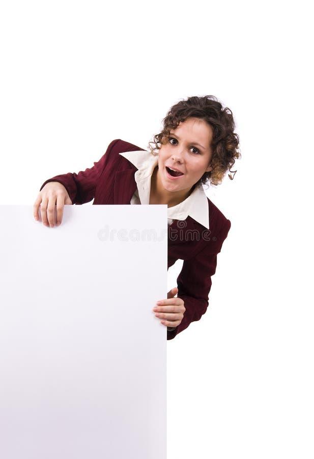 Femme d'affaires avec le panneau-réclame. photo libre de droits