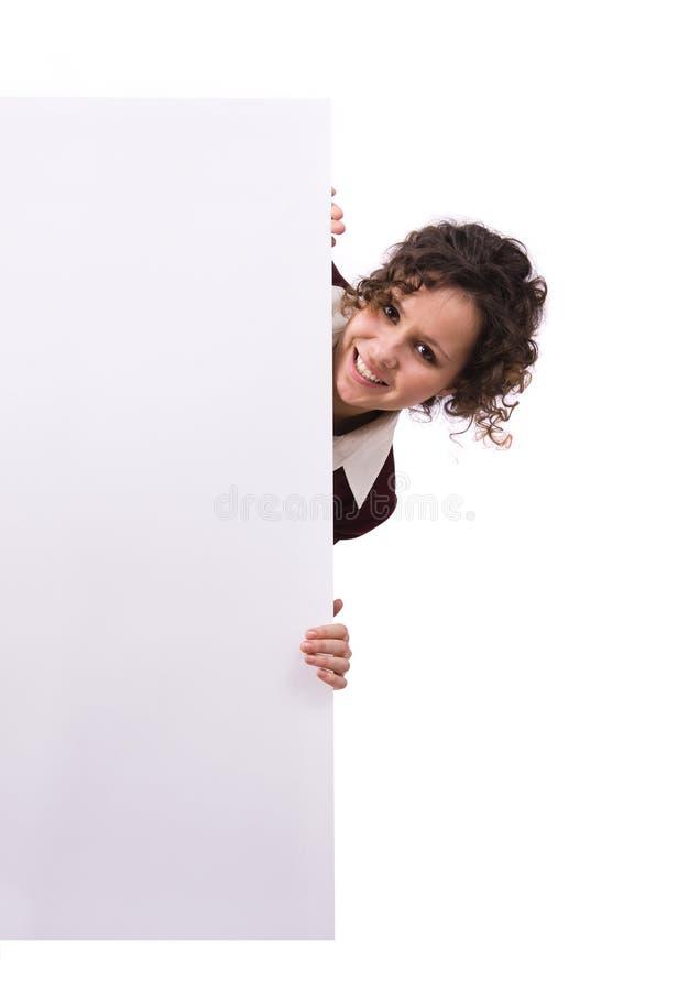 Femme d'affaires avec le panneau-réclame. photos libres de droits