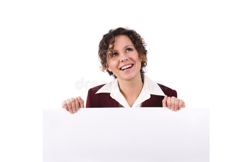 Femme d'affaires avec le panneau-réclame. images libres de droits