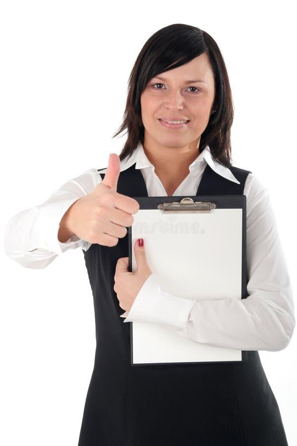 Femme d'affaires avec le pouce vers le haut photos stock