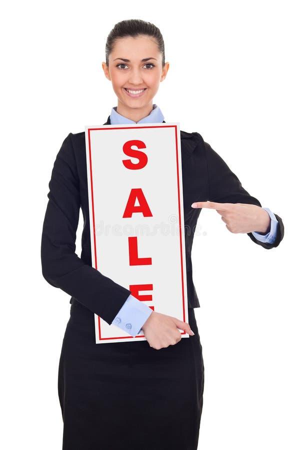 Femme d'affaires avec le signe de vente image stock