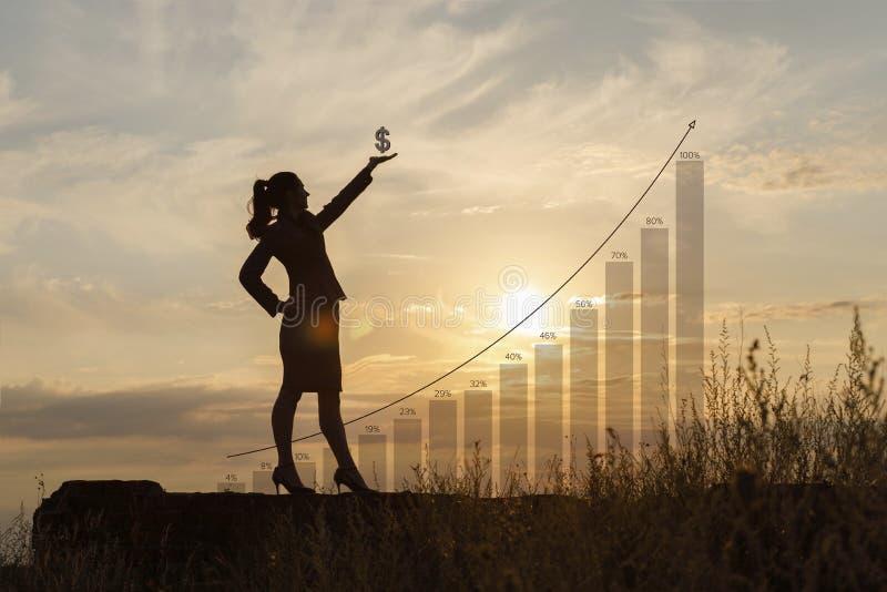Femme d'affaires avec le symbole dollar à disposition photographie stock libre de droits