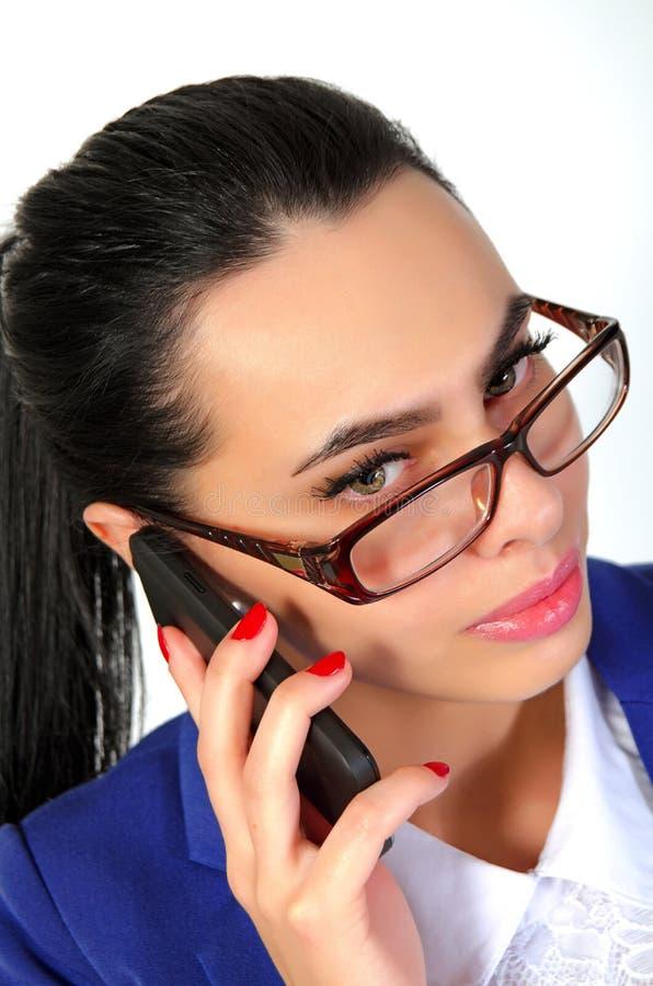 Femme d'affaires avec le téléphone images stock