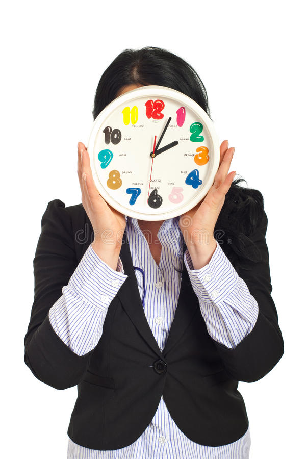 Femme d'affaires avec le visage d'horloge photos libres de droits