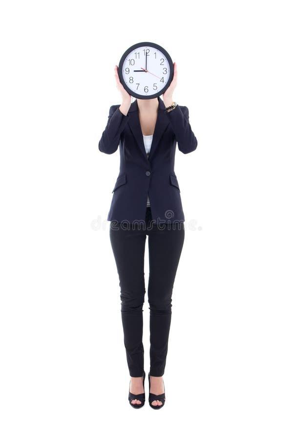Femme d'affaires avec le visage de bâche d'horloge d'isolement sur le blanc photo libre de droits