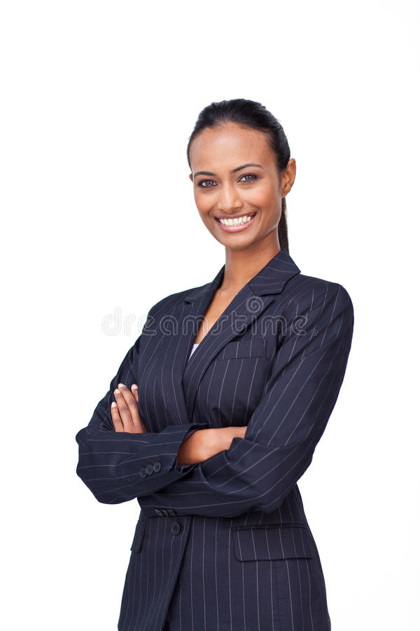 Femme d'affaires avec les bras pliés photographie stock
