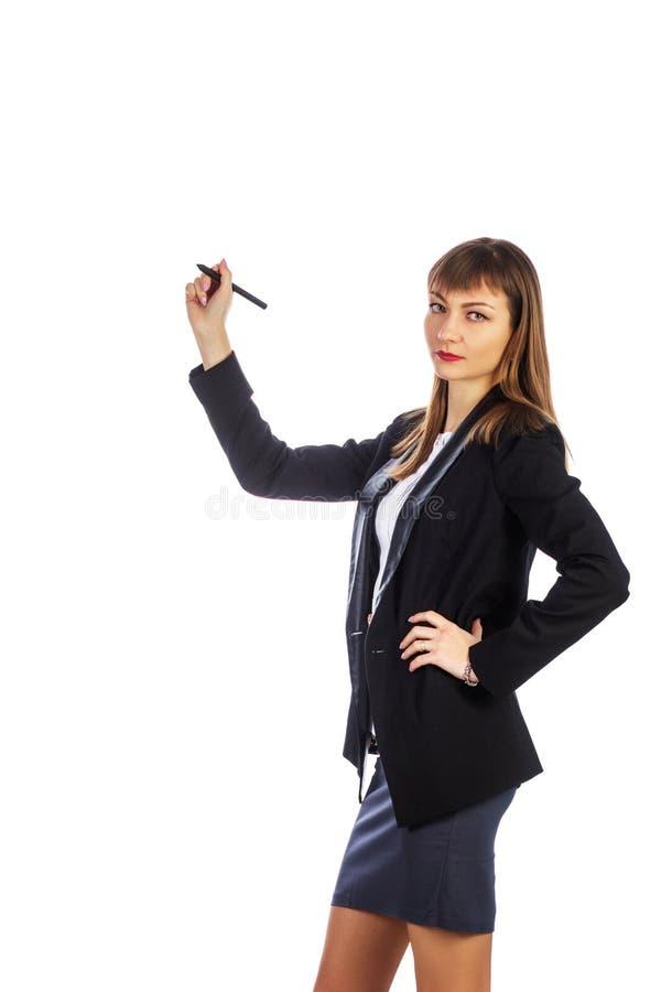 Femme d'affaires avec un crayon photographie stock
